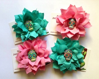 Pink & Teal Mexican Day of the Dead Hair Flowers