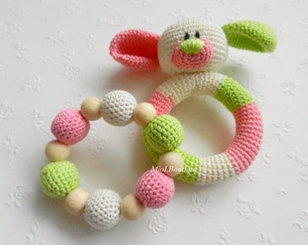 Baby rattle SET of 2 Crochet Baby toy Grasping Teething Toys Dog Teether Stuffed toys Gift for baby Girls Boys Rattle