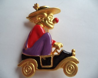 Vintage Signed Danecraft Gold pewter Outlined Clown Brooch/Pin