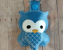 Owl Hand Sanitizer Holder- Bright Blue Embroidered Vinyl with Snap, Great for Backpacks, Bags and Purses, Made in USA, Quick Ship