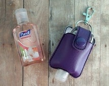 Small Hand Sanitizer Holder, Purple Vinyl with Snap, Great for Backpacks, Bags & Purses, Quick Ship, Choose from 24 Colors, Made in USA