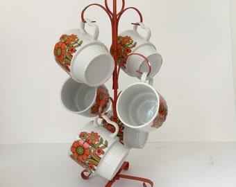 Vintage Mid Century Retro Mug Tree Set with 6 Floral Coffee Mugs