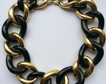 Authentic Signed Vintage GIVENCHY Gold and Black Oversized Link Necklace