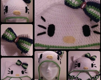 Seattle Seahawks & Hello Kitty Inspired, Crochet, Earflap Beanie, White, Blue, Green, Bow, Child/Youth/Adult