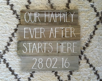 Wedding Rustic Timber Sign Our Happily Ever After Starts Here DATE