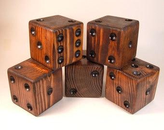 Red Mahogany Wooden Lawn Dice Set od 5** Large Wooden Die**Lawn Dice**