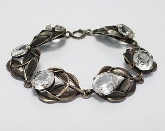 Vintage Sterling Silver and Clear Stone Leaf Bracelet