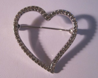 Swarovski Crystal Heart Brooch Pin