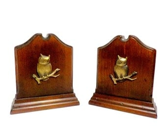 Bookends, Owl Bookends, Wood and Brass Owl Bookends, Large Owl Bookends, Sturdy Bookends