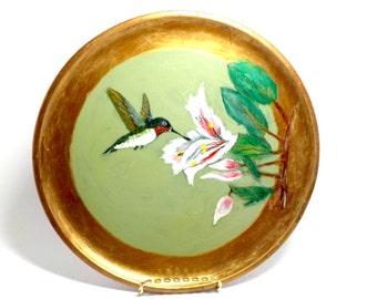 Hand Painted Wood Wall Plate, Hummingbird, Wooden Plate Wall Decor, Hummingbird Painting, Woodpecker Wood Ware, Japan, Cottage Decor