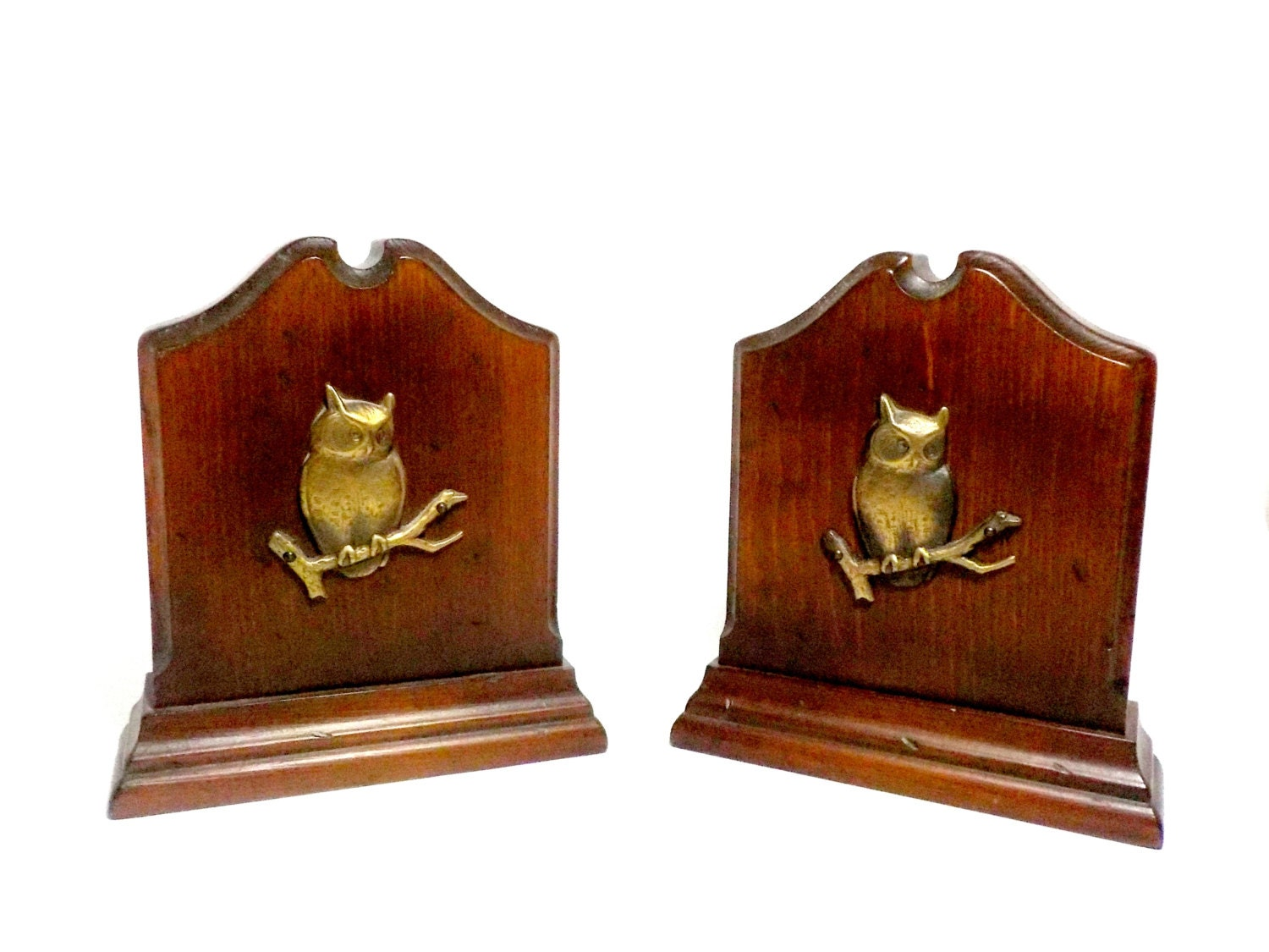 Bookends owl bookends wood and brass owl bookends large owl - Sturdy bookends ...