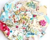 Embellishment Kit / Blue Fern Studios Blush / Scrapbook Embellishments / Junk Journal Kit / Prima Flowers / Pocket Journal / Scrapbook Kit
