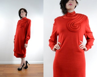 80s Designer Avant Garde Sweater Dress Red Rope Applique Turtleneck Long Sleeve Made in Italy by Medici // Small Medium