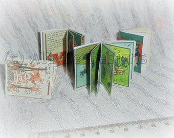 Miniature Real Page Vintage Books 1:6 scale dollhouse books SET 1
