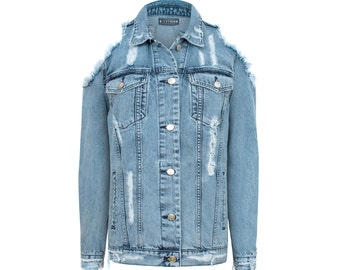 Marmo washed Jeans MISSDENIM Jacket Ripped Frayed Studded Patches
