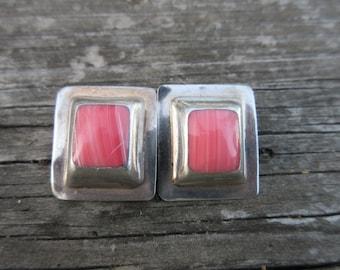 Sterling Silver Rhodochrosite Clip On Earrings