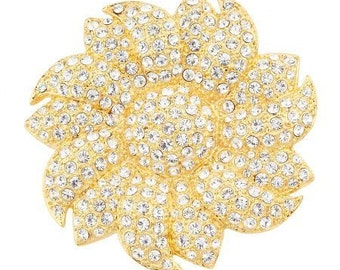 Jackie Kennedy 24K GP Brooch - Large Crystal Sunflower with Box and COA