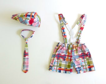 Boy cake smash outfit, madras check first Birthday boy baby outfit, hat necktie suspenders and shorts, unique baby gift  - made to order