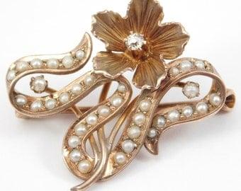 Art Nouveau Seed Pearl & Diamond 10K Floral Brooch