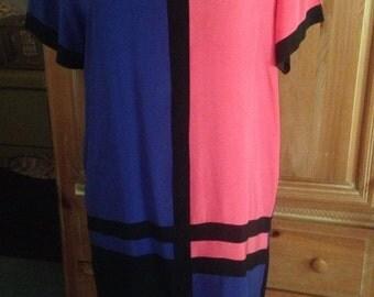Pat Argenti Mondrian Inspired Silk Dress