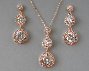 Cubic Zirconia,Rose Gold Plated Over Brass,Necklace & Earrings- Set,Bridal Set, Rose Gold Necklace,Rose Gold Earrings,Bridesmaid Gift- DK573
