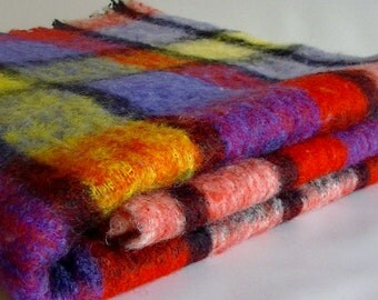 Throw Me Some Color Vintage and Vibrant Mohair Wool Throw