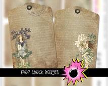 Digital Collage Sheet - Vintage Garden Girls - Gift Tags Jewelry Holders - ATC - Printable Vintage Cards - Vintage Floral Images & Ephemera
