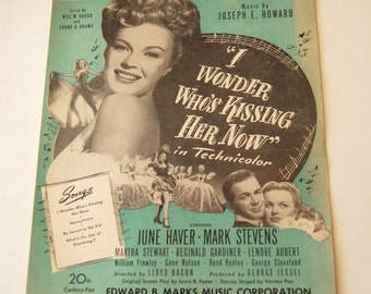 Vintage Sheet Music, I Wonder Who's Kissing Her Now