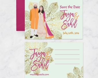 Indian Wedding Save the Dates - Custom Portrait Save the Dates - Indian Wedding - Save the Dates