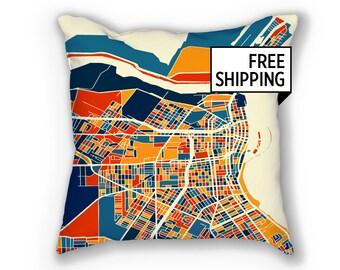 Corpus Christi Map Pillow - Texas Map Map Pillow 18x18