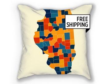 Illinois Map Pillow - IL Map Pillow 18x18