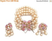 Signed SCHIAPARELLI Creamy Pearls and Pink Sabrina Stones Bracelet and Clip Earrings Set