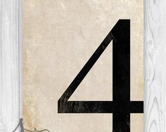 4 - Number Four Art Print, Numerology, Vintage Number Decor, Number Poster, Number Wall Art Print, Numeral Print, Wall Art Print, Home Decor