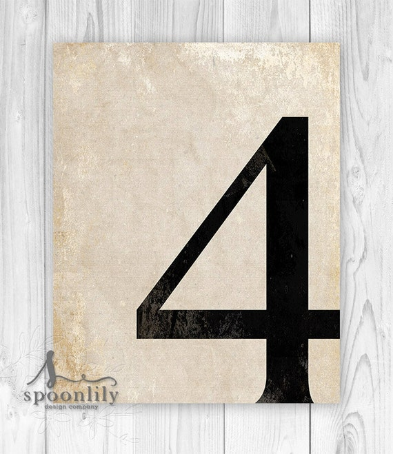 4 number four art print numerology vintage number decor