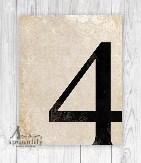 4 number four art print numerology vintage number decor On number 4 decorations