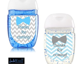Bowtie Hand Sanitizer labels Baby Shower favors- Blue & grey chevron-  Birthday Digital or Peel and Stick-- FREE SHIPPING