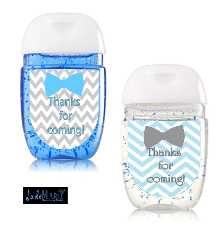 Baby Shower Stickers For Favors: Bowtie Hand Sanitizer Labels Baby Shower Favors By
