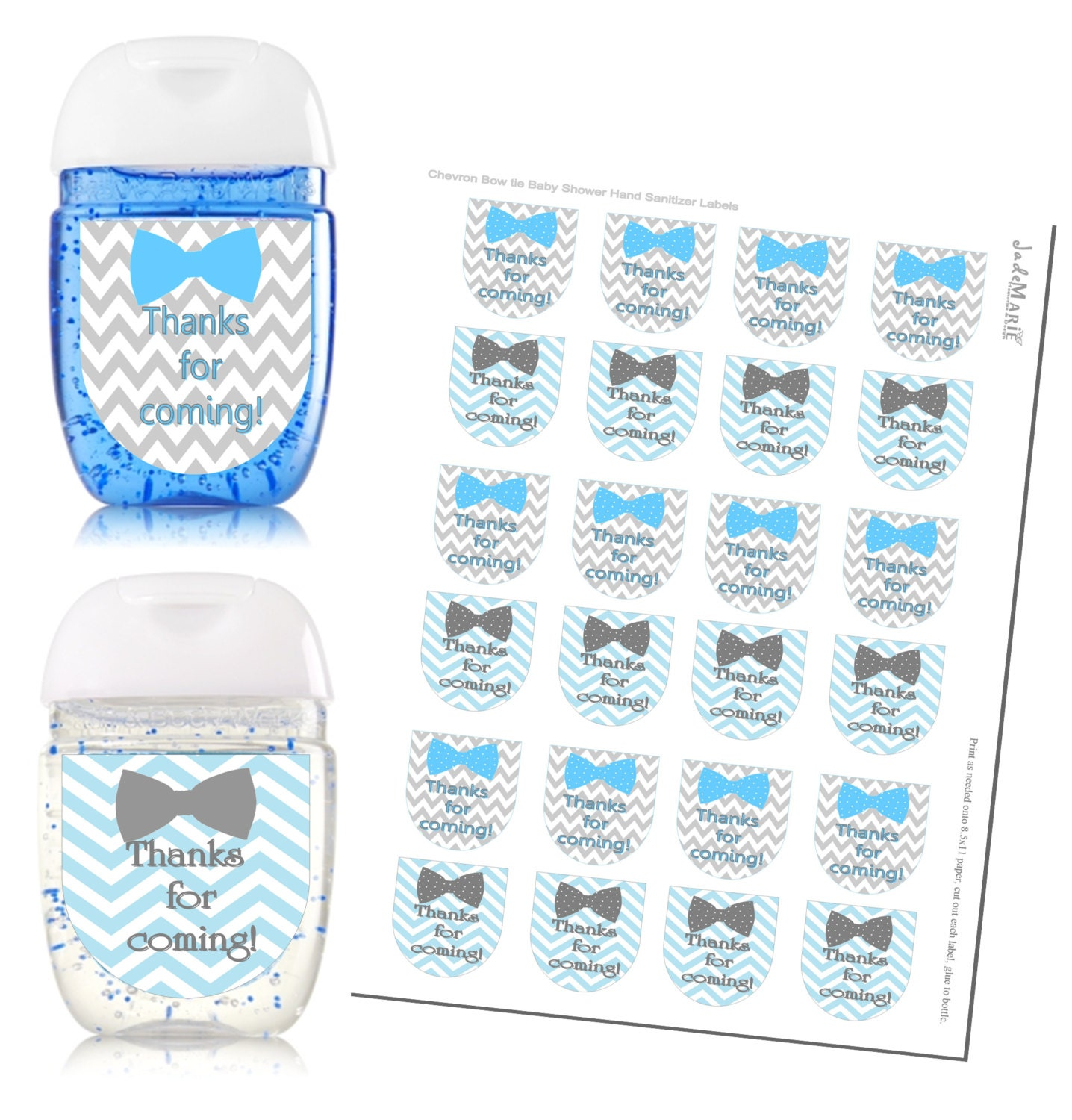 Bowtie Hand Sanitizer Labels Baby Shower Favors By