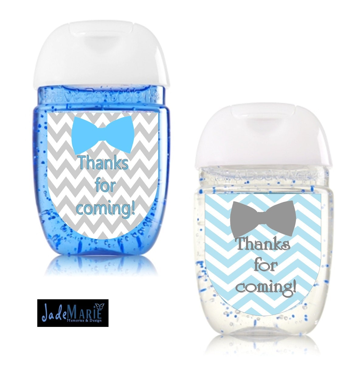 Bowtie Hand Sanitizer Labels Baby Shower Favors Blue & Grey