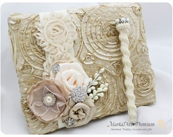 READY TO SHIP Wedding Lace Guest Book Pen Set Custom Bridal Flower Brooch Guest Books in Champagne, Tan and Ivory