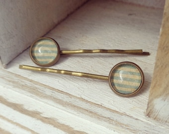 Brass stripe hair slides