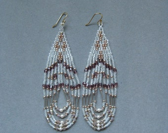White, Chamgagne and Amethyst Native American Style Seed Beaded Earrings