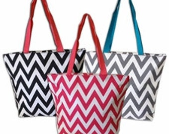 Personalized Gift Zippered Chevron Womens Tote Bag 9 Colors