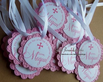 25 Scalloped Circle Thank You Tags Baptism, Christening, Birthday, Shower