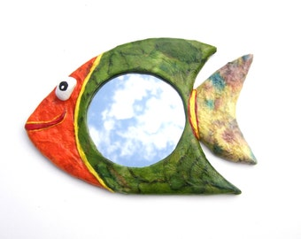 GREEN FISH MIRROR,Decorative Wall Hanging Fish Mirror,animal shaped mirror,home or office decoration,hippie furniture