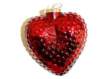 Vintage Heavy Glass Kugel. Heart Shaped Glass Ornament. Hanging Ornament. Christmas Ornament.  Heart. Kugel. Hobnail Glass. Valentine. Love