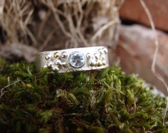 Aquamarine Sterling Silver & 18 ct Gold Bubble Textured Simple Ring, bubble ring, organic ring