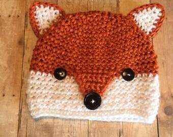 Crochet Baby Hat, Fox Beanie, 0-3 Months
