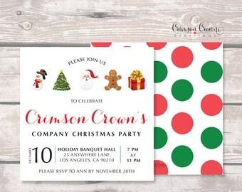 Christmas Party Invitation - Holiday Party Invite - Snowman, Santa, Christmas Tree, Gift Invite - Company Party - Digital File