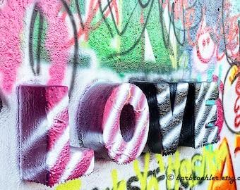 Graffiti LOVE 2 - Art Print - Graffiti - Valentine - Colorful - Texture - Photography - Home Decor - Wall Art - 8x12